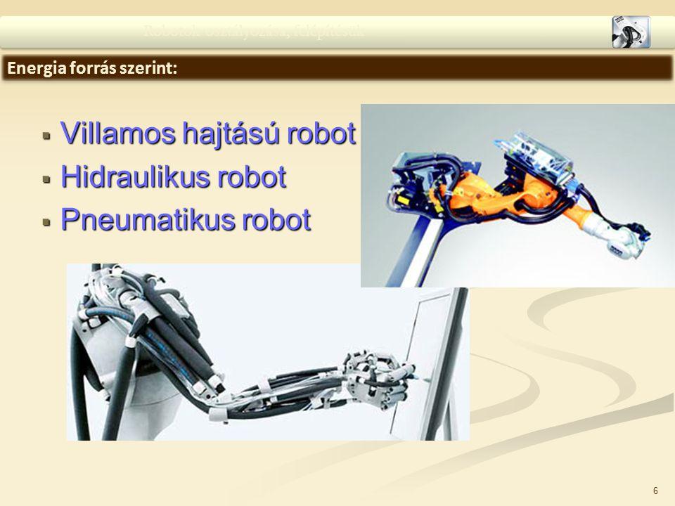 Villamos hajtású robot Hidraulikus robot Pneumatikus robot
