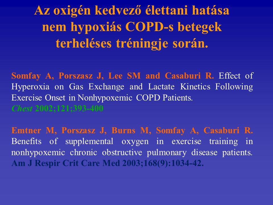 Az oxigén kedvező élettani hatása nem hypoxiás COPD-s betegek terheléses tréningje során.