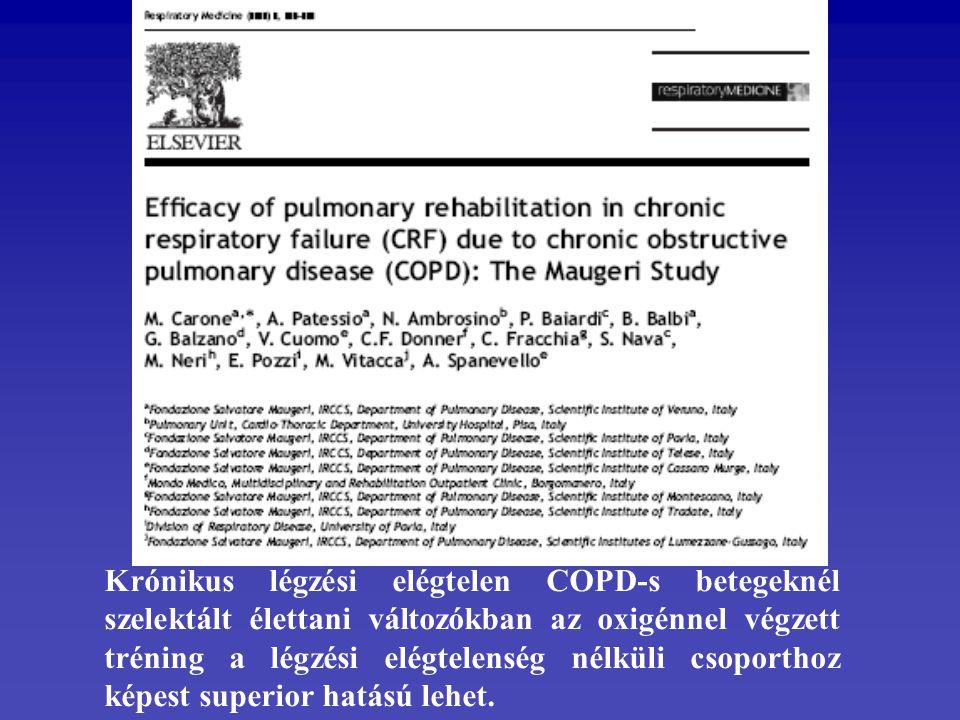 Krónikus légzési elégtelen COPD-s betegeknél szelektált élettani változókban az oxigénnel végzett tréning a légzési elégtelenség nélküli csoporthoz képest superior hatású lehet.