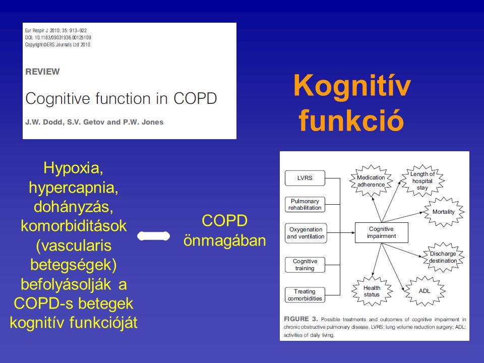Kognitív funkció Hypoxia, hypercapnia, dohányzás, komorbiditások (vascularis betegségek) befolyásolják a COPD-s betegek kognitív funkcióját.
