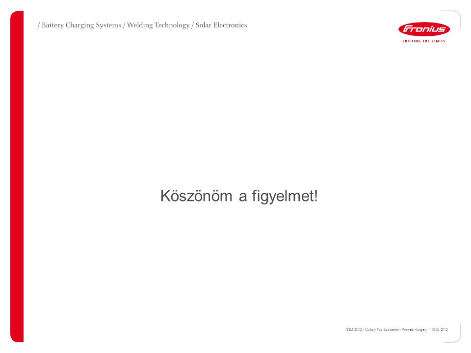 Köszönöm a figyelmet! ISSM 2012 / Multiply Top Application / Froweld Hungary / 16.04.2012.