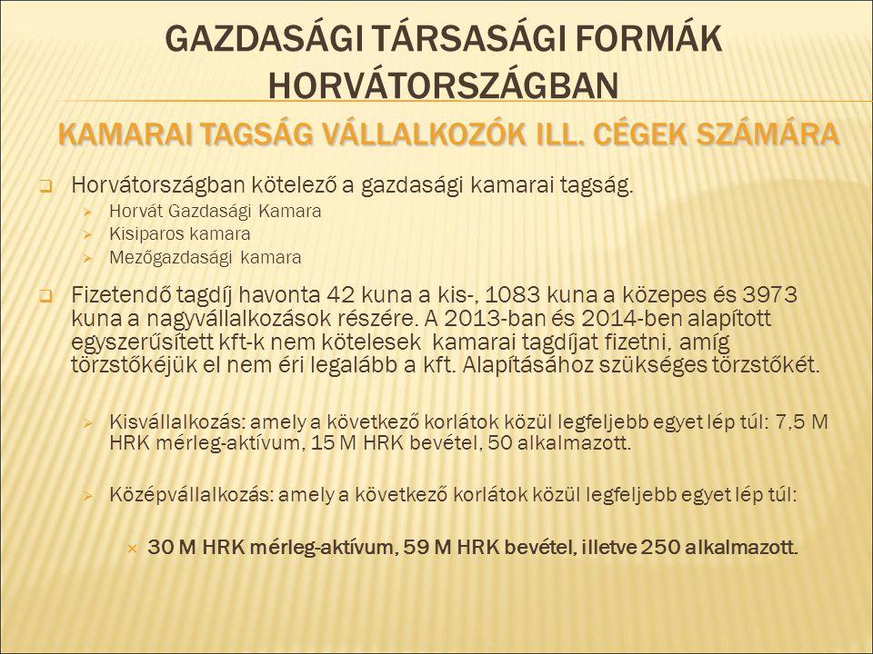 Gazdasági társasági formák Horvátországban Kamarai tagság vállalkozók ill. cégek számára