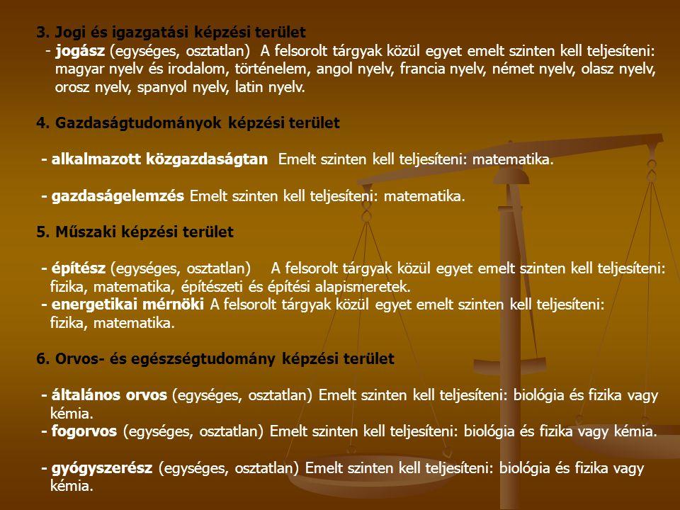 3. Jogi és igazgatási képzési terület