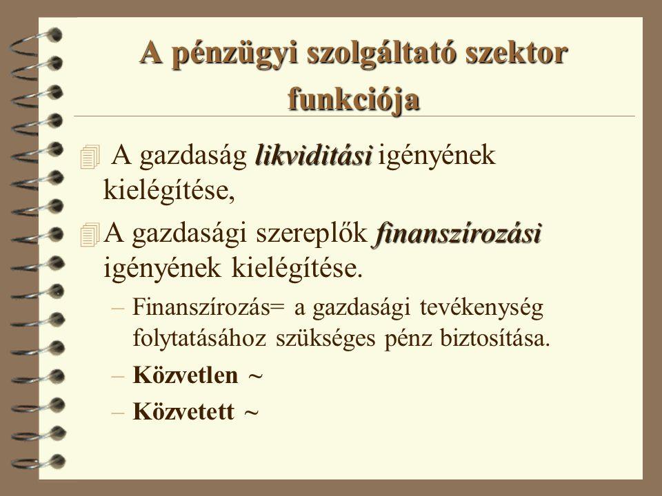 A pénzügyi szolgáltató szektor funkciója