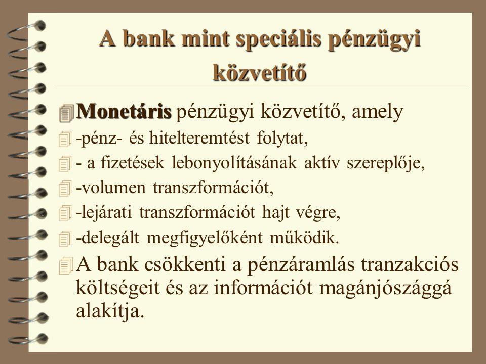 A bank mint speciális pénzügyi közvetítő