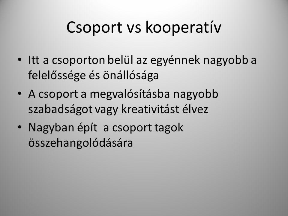 Csoport vs kooperatív Itt a csoporton belül az egyénnek nagyobb a felelőssége és önállósága.