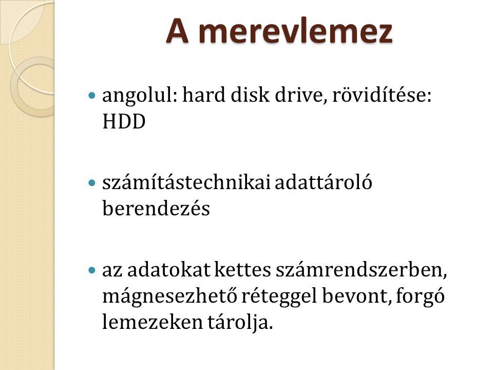 A merevlemez angolul: hard disk drive, rövidítése: HDD
