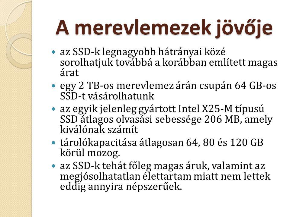 A merevlemezek jövője az SSD-k legnagyobb hátrányai közé sorolhatjuk továbbá a korábban említett magas árat.