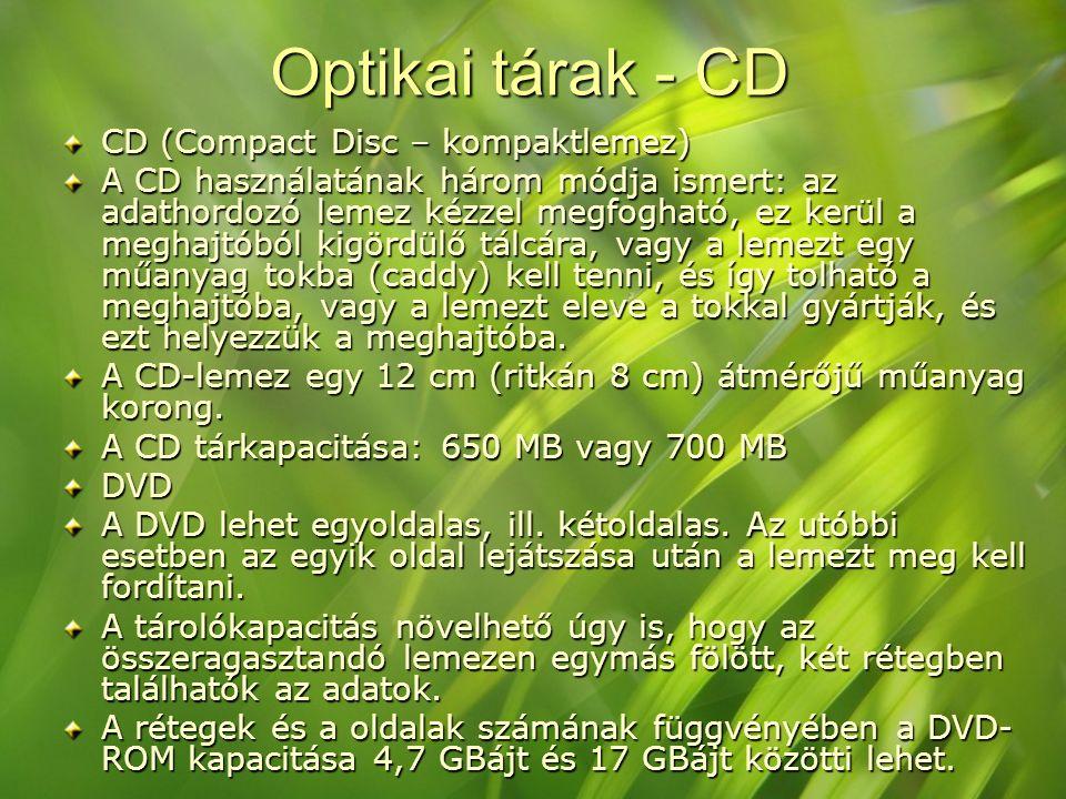 Optikai tárak - CD CD (Compact Disc – kompaktlemez)