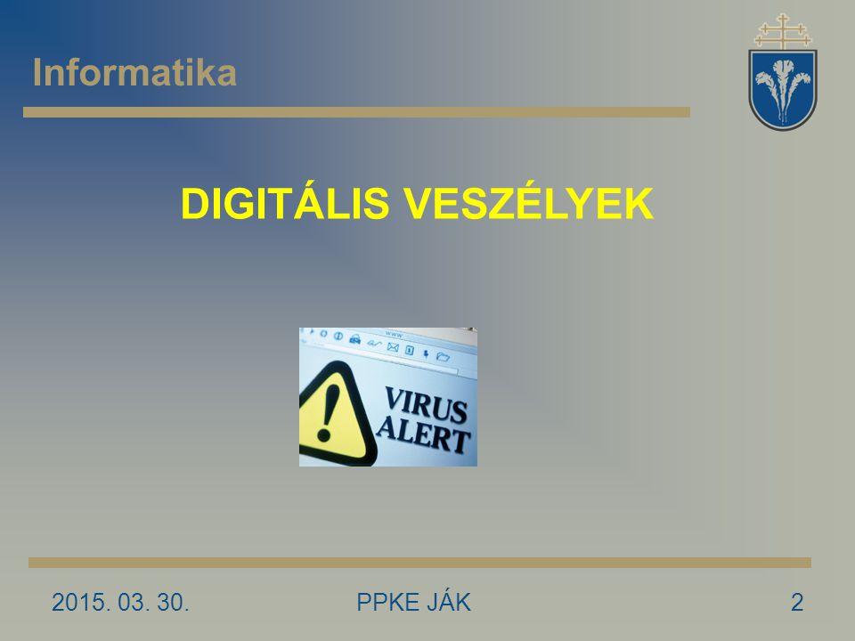 Informatika DIGITÁLIS VESZÉLYEK 2017.04.09. PPKE JÁK