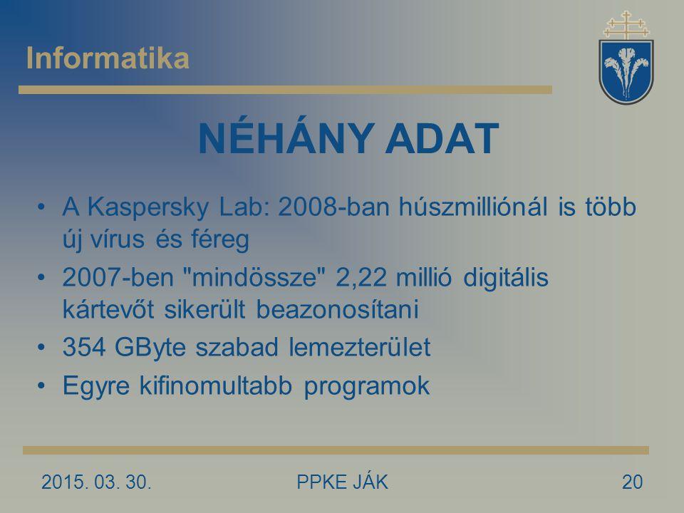 NÉHÁNY ADAT Informatika