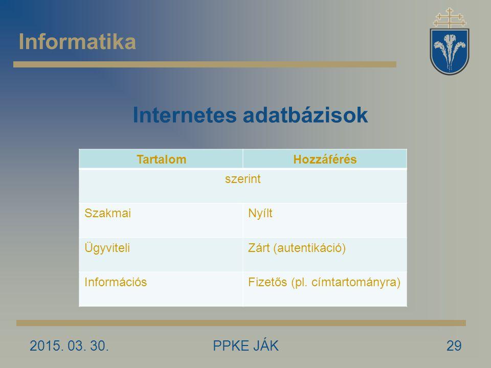 Internetes adatbázisok