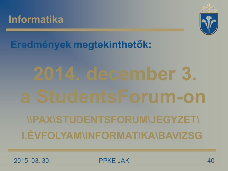 2014. december 3. a StudentsForum-on