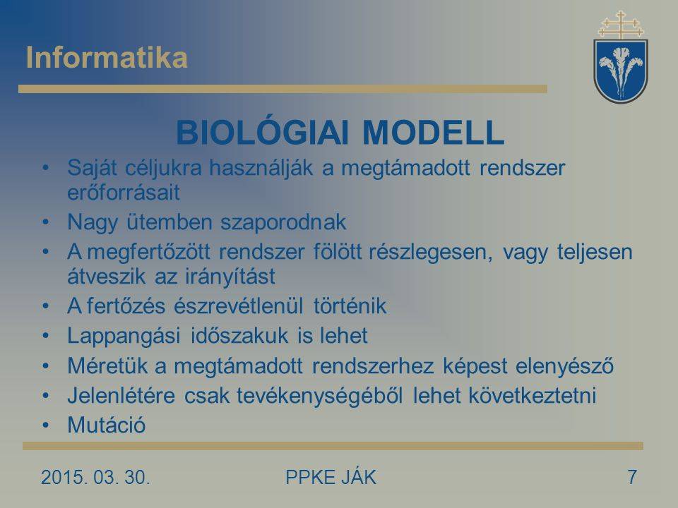 BIOLÓGIAI MODELL Informatika