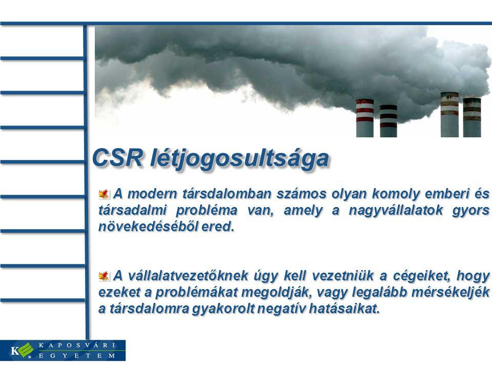 CSR létjogosultsága A modern társdalomban számos olyan komoly emberi és társadalmi probléma van, amely a nagyvállalatok gyors növekedéséből ered.