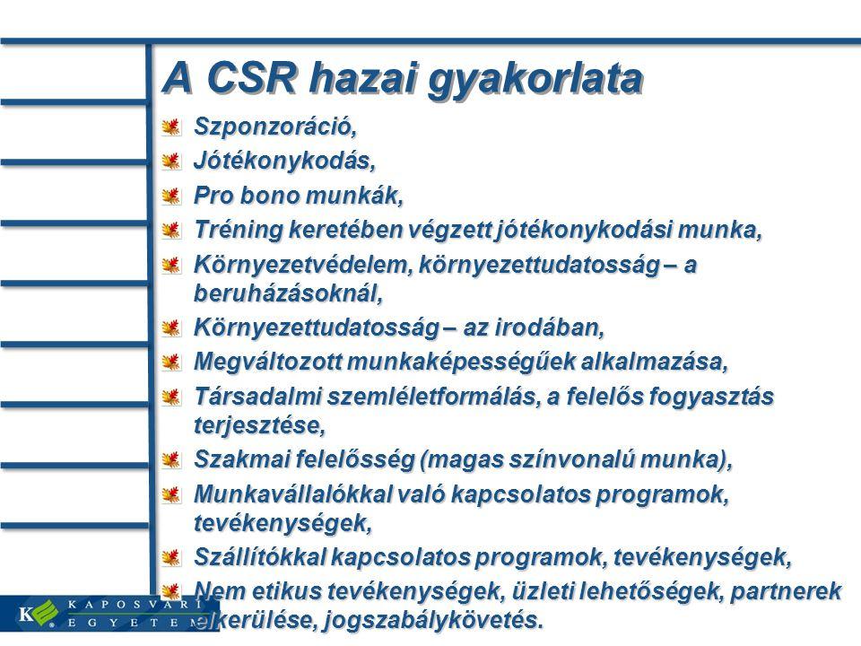 A CSR hazai gyakorlata Szponzoráció, Jótékonykodás, Pro bono munkák,