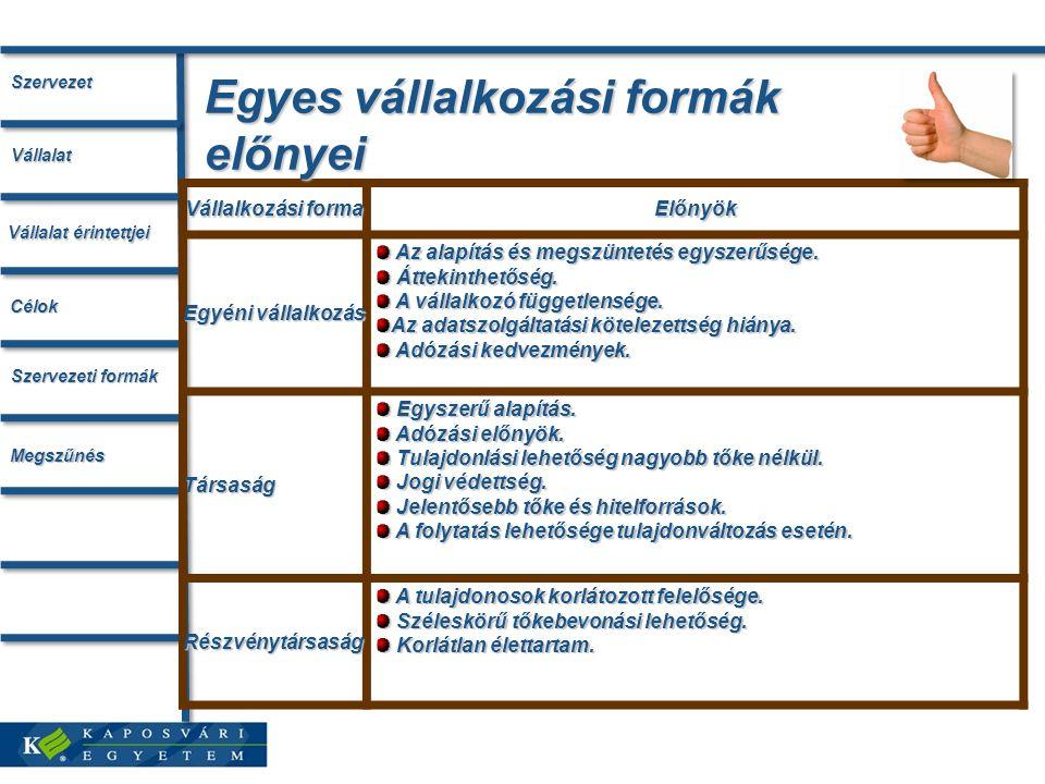 Egyes vállalkozási formák előnyei