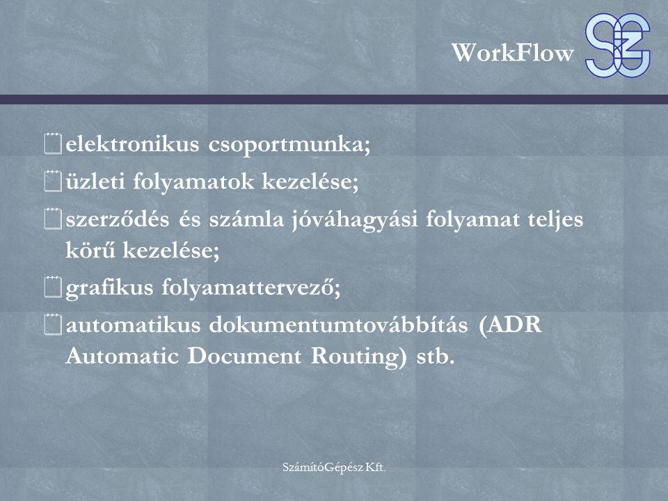 WorkFlow elektronikus csoportmunka; üzleti folyamatok kezelése;