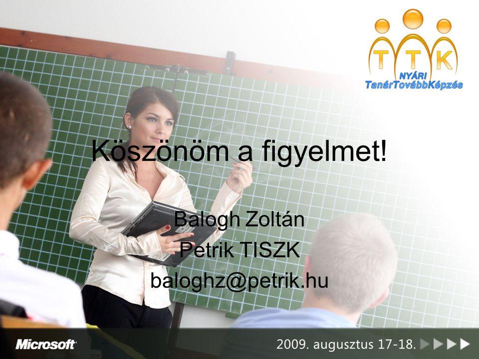 Balogh Zoltán Petrik TISZK baloghz@petrik.hu