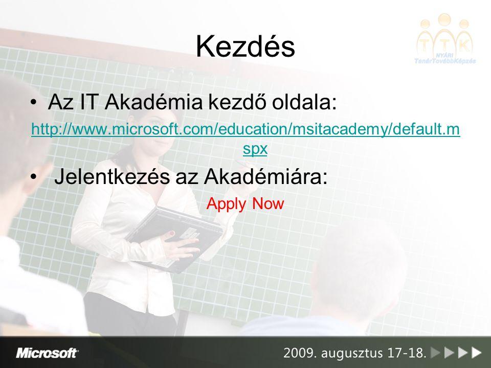 Kezdés Az IT Akadémia kezdő oldala: Jelentkezés az Akadémiára: