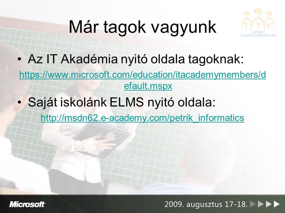 Már tagok vagyunk Az IT Akadémia nyitó oldala tagoknak: