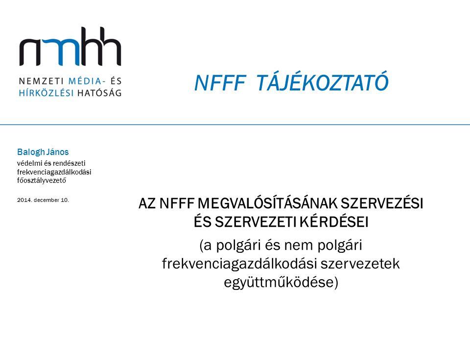 Az NFFF megvalósításának szervezési és szervezeti kérdései
