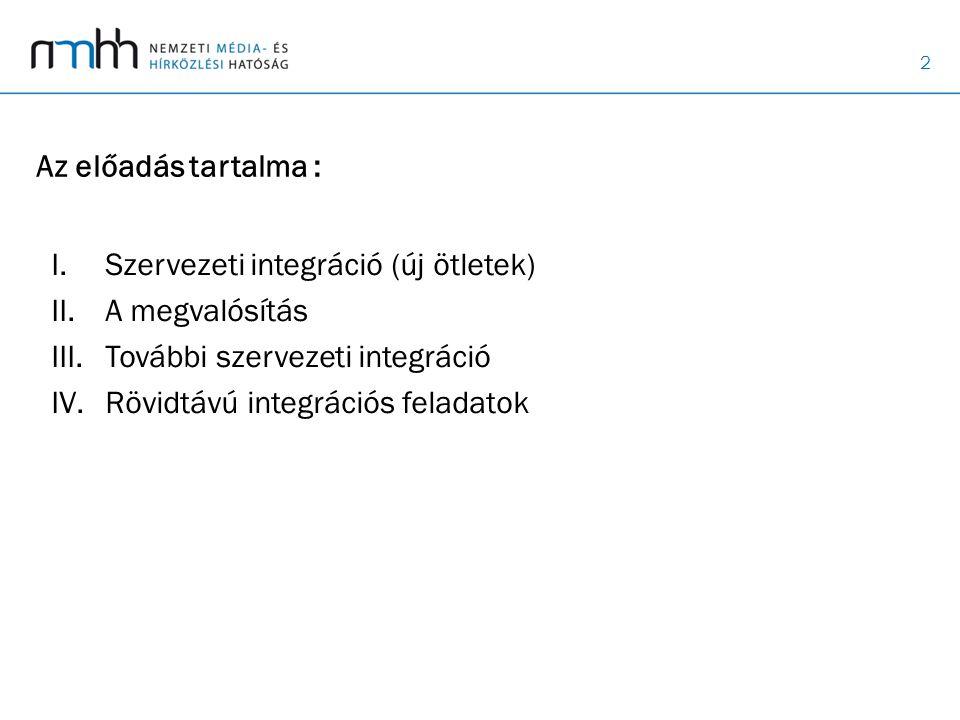 Az előadás tartalma : Szervezeti integráció (új ötletek) A megvalósítás. További szervezeti integráció.