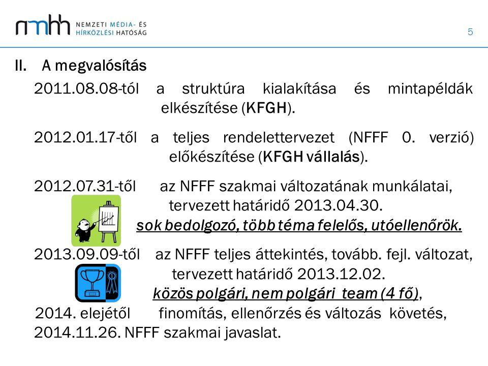 A megvalósítás 2011.08.08-tól a struktúra kialakítása és mintapéldák elkészítése (KFGH).