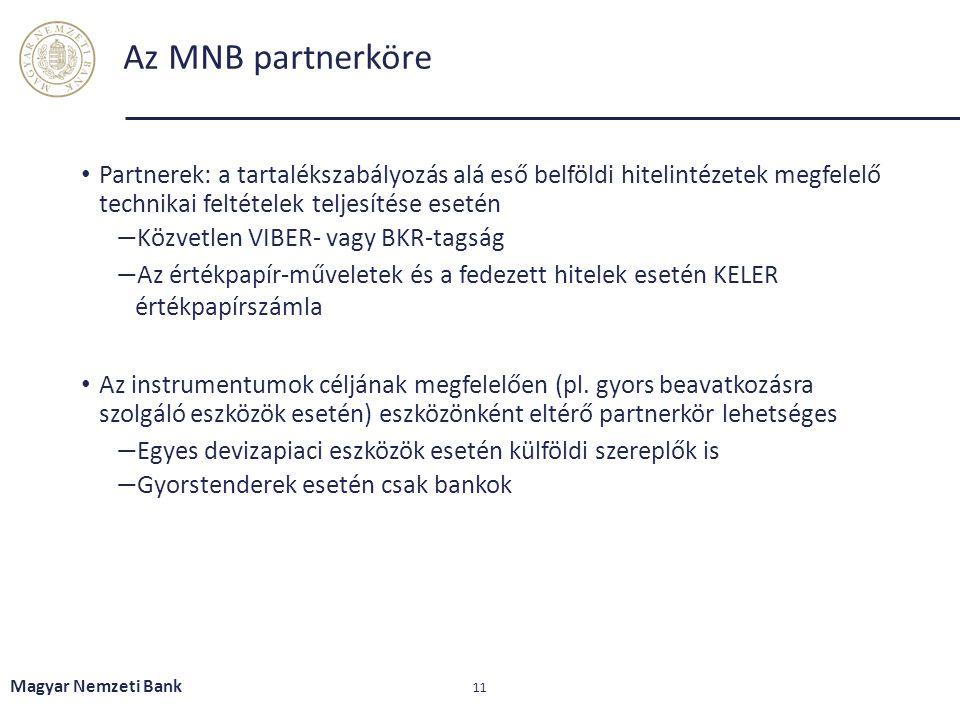 Az MNB partnerköre Partnerek: a tartalékszabályozás alá eső belföldi hitelintézetek megfelelő technikai feltételek teljesítése esetén.