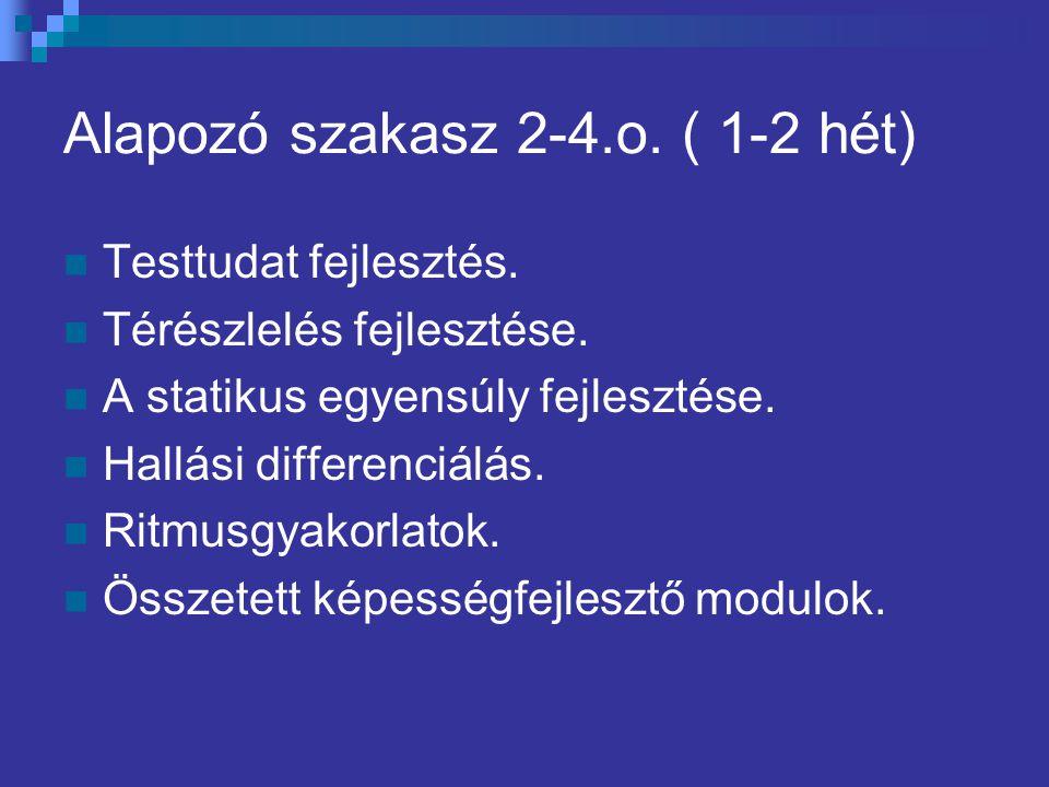 Alapozó szakasz 2-4.o. ( 1-2 hét)