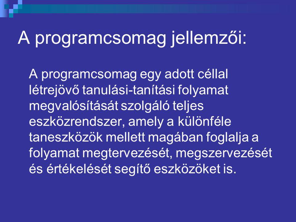 A programcsomag jellemzői: