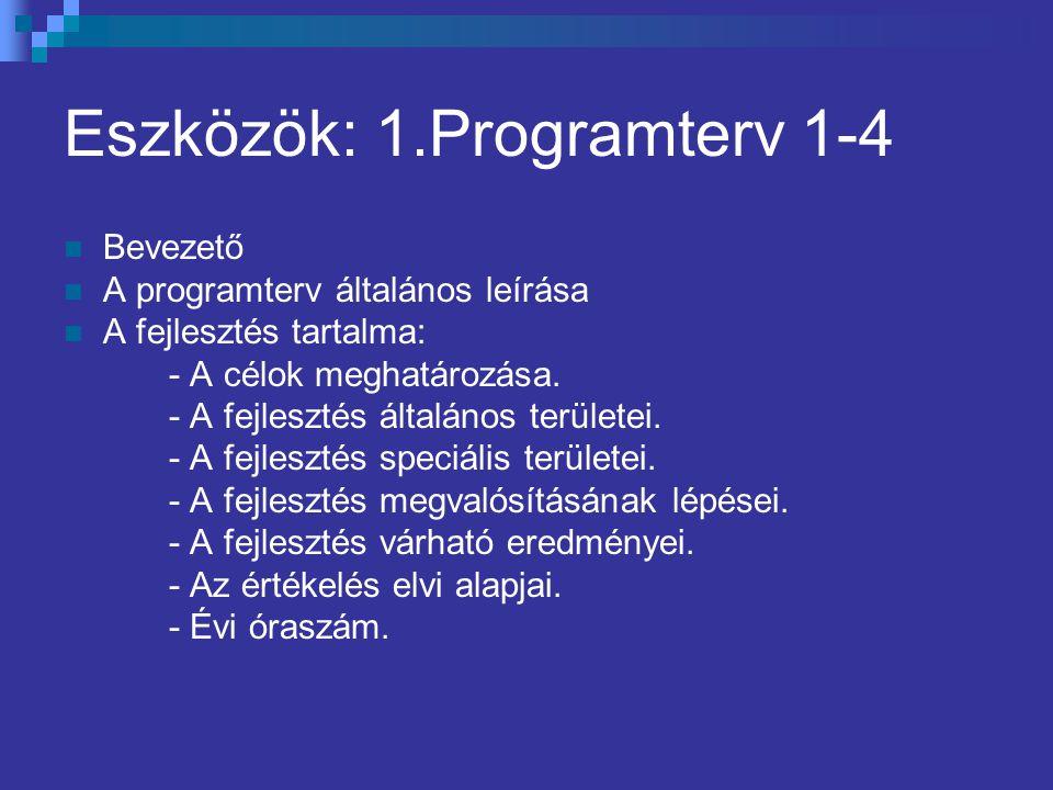 Eszközök: 1.Programterv 1-4