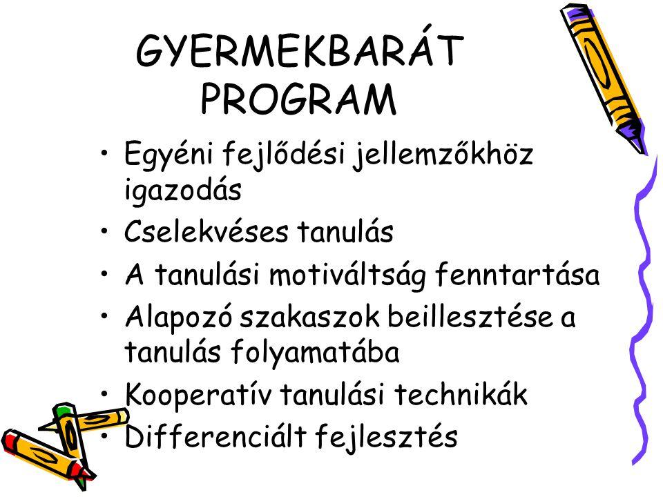 GYERMEKBARÁT PROGRAM Egyéni fejlődési jellemzőkhöz igazodás