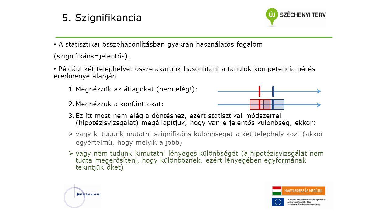 5. Szignifikancia A statisztikai összehasonlításban gyakran használatos fogalom (szignifikáns=jelentős).