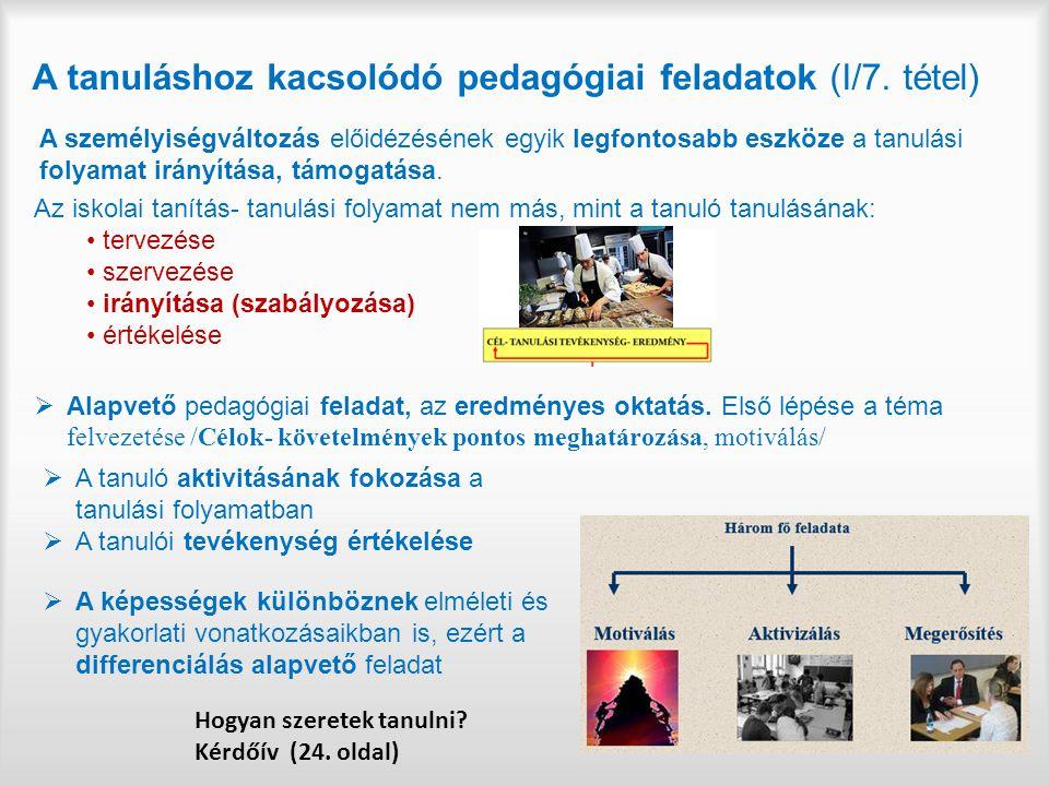 A tanuláshoz kacsolódó pedagógiai feladatok (I/7. tétel)