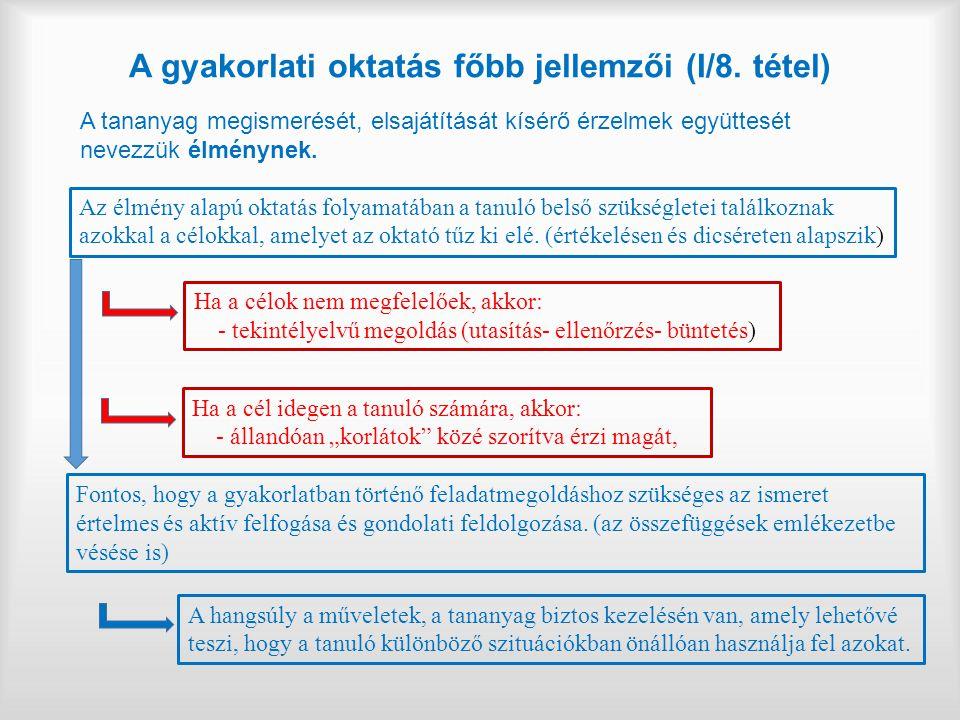 A gyakorlati oktatás főbb jellemzői (I/8. tétel)