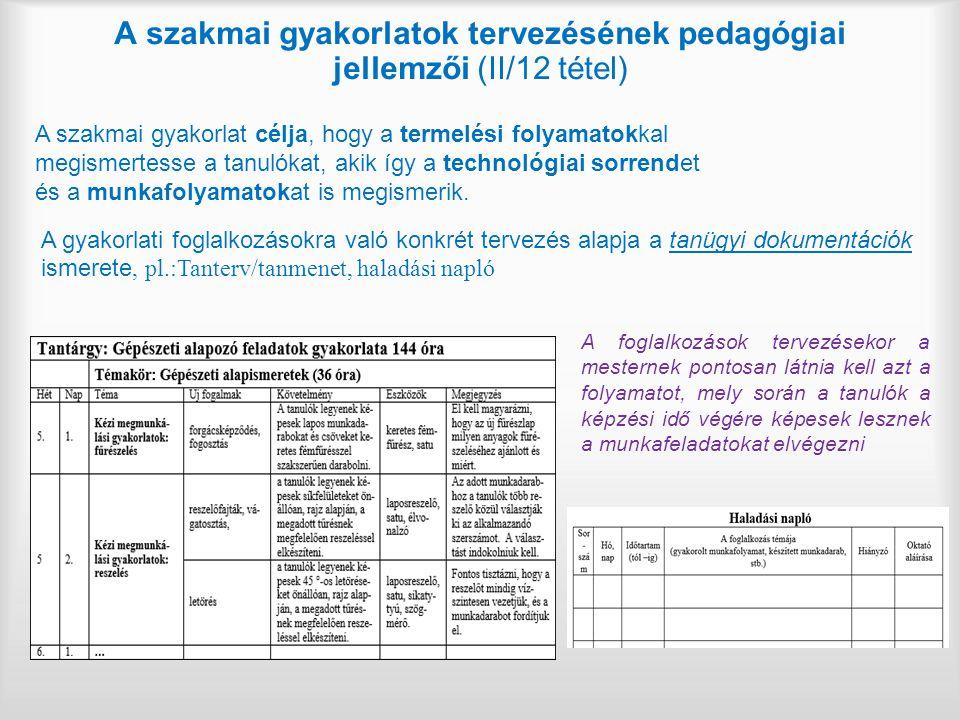 A szakmai gyakorlatok tervezésének pedagógiai jellemzői (II/12 tétel)