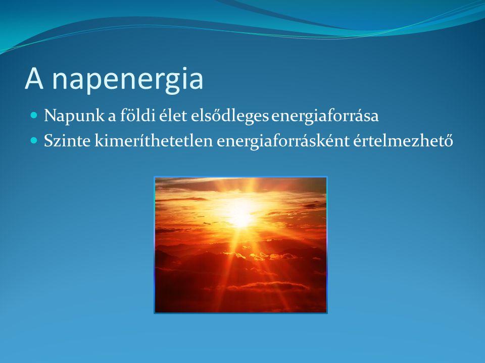 A napenergia Napunk a földi élet elsődleges energiaforrása