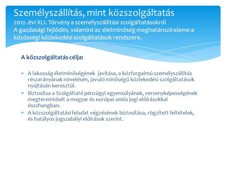 Személyszállítás, mint közszolgáltatás 2012. évi XLI