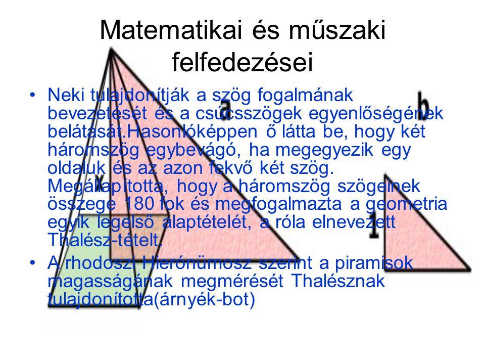 Matematikai és műszaki felfedezései