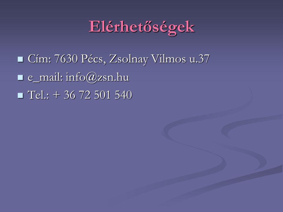 Elérhetőségek Cím: 7630 Pécs, Zsolnay Vilmos u.37 e_mail: info@zsn.hu