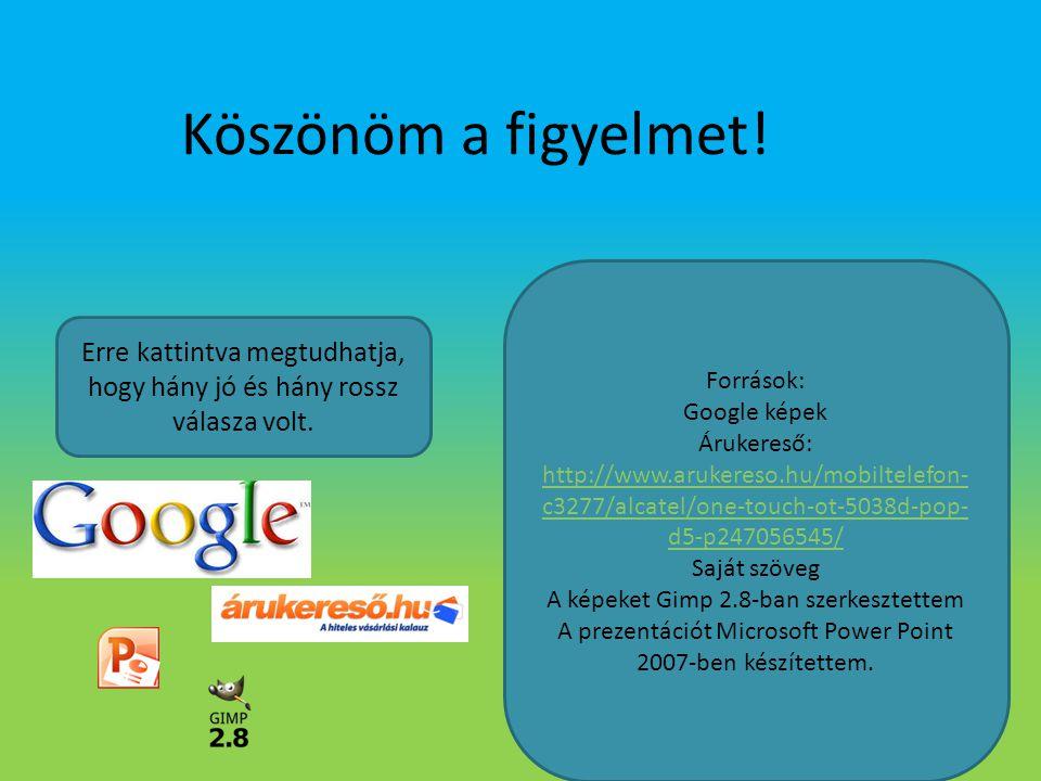 Köszönöm a figyelmet! Források: Google képek. Árukereső: http://www.arukereso.hu/mobiltelefon-c3277/alcatel/one-touch-ot-5038d-pop-d5-p247056545/