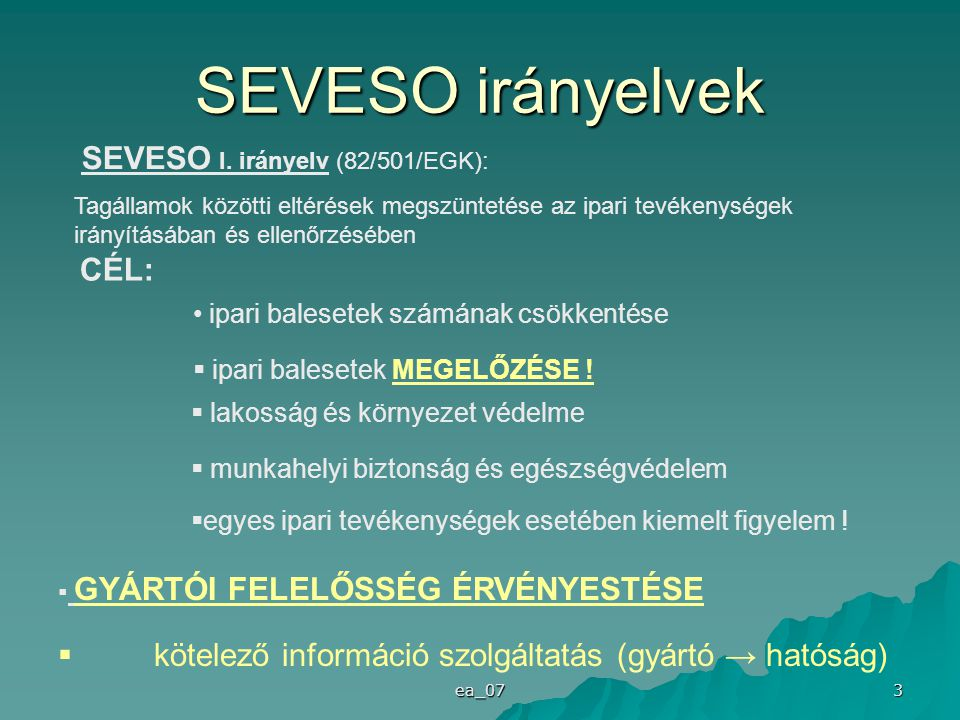 SEVESO irányelvek SEVESO I. irányelv (82/501/EGK): CÉL: