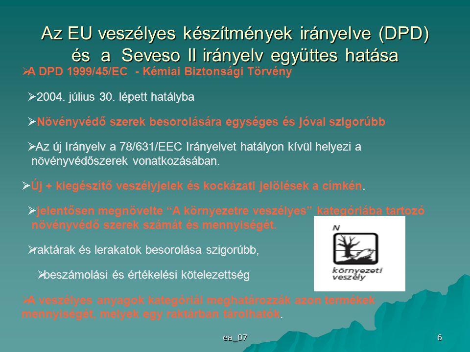 Az EU veszélyes készítmények irányelve (DPD) és a Seveso II irányelv együttes hatása
