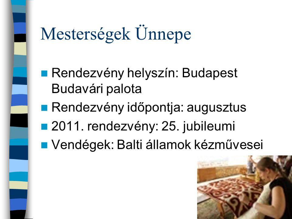 Mesterségek Ünnepe Rendezvény helyszín: Budapest Budavári palota