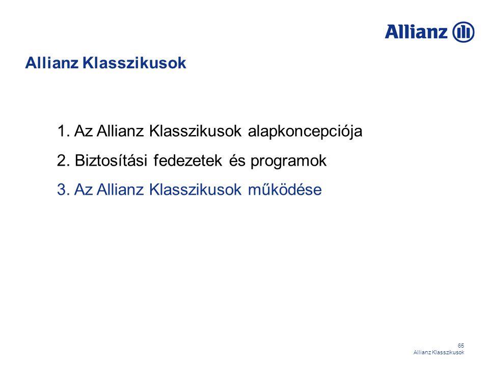 Allianz Klasszikusok 1. Az Allianz Klasszikusok alapkoncepciója. 2. Biztosítási fedezetek és programok.