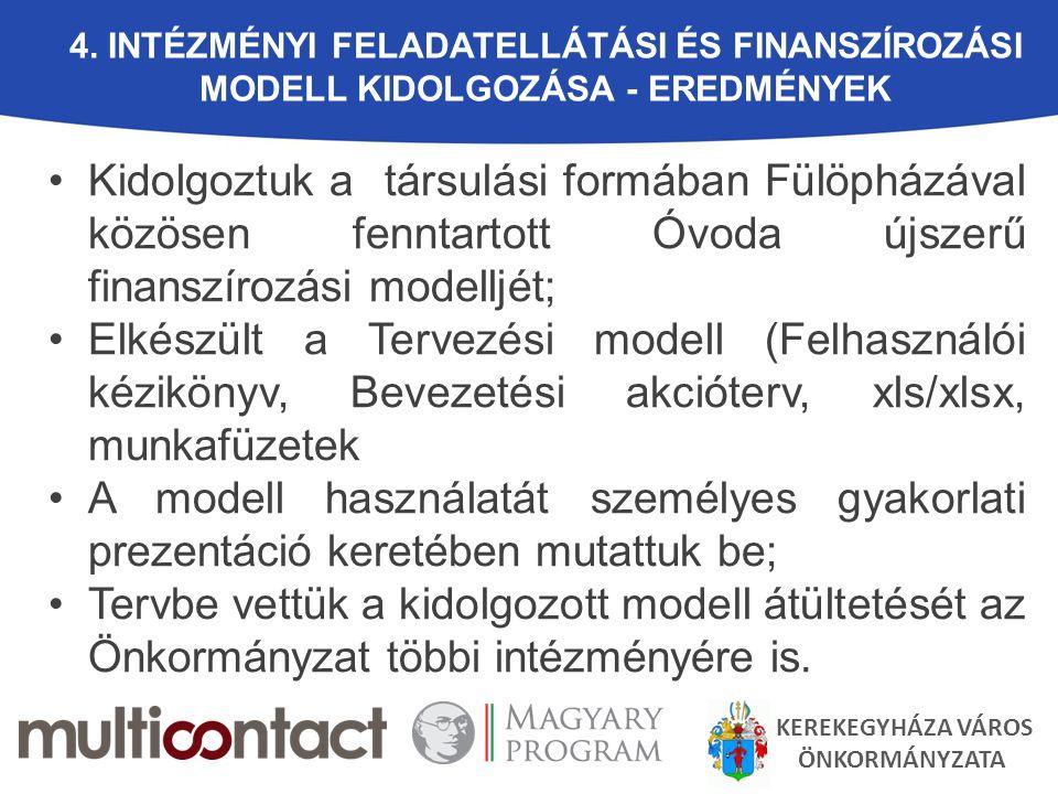4. Intézményi feladatellátási és finanszírozási modell kidolgozása - EREDMÉNYEK