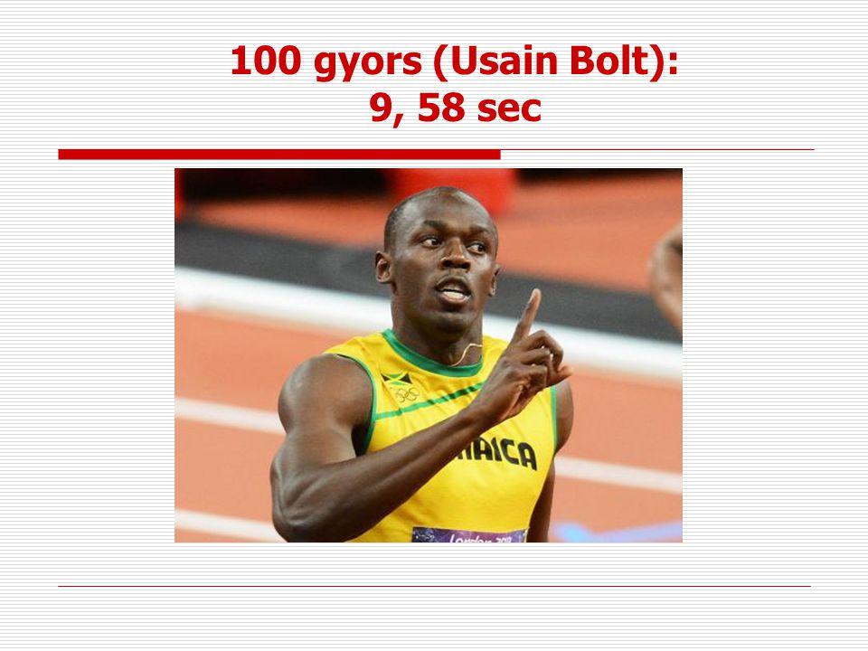 100 gyors (Usain Bolt): 9, 58 sec