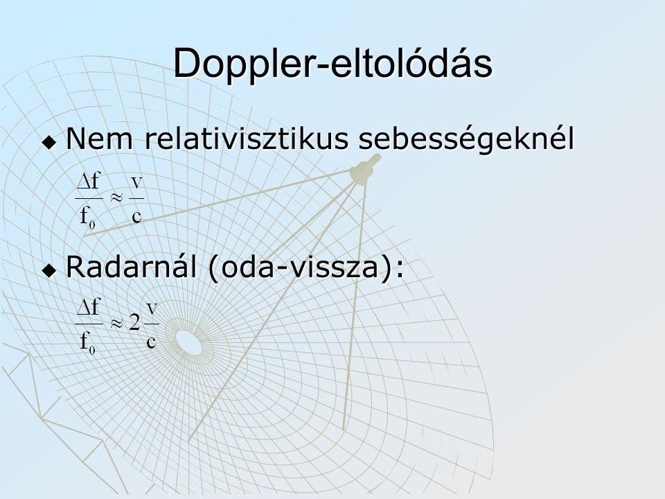 Doppler-eltolódás Nem relativisztikus sebességeknél