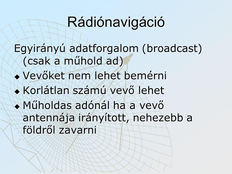Rádiónavigáció Egyirányú adatforgalom (broadcast) (csak a műhold ad)
